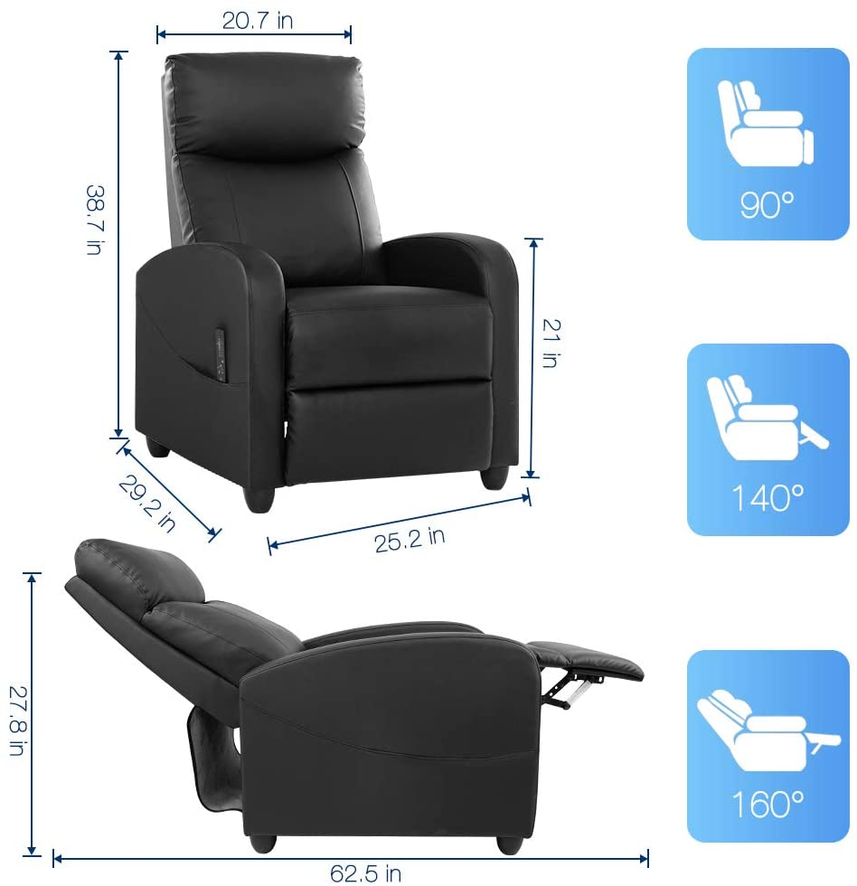Smugdesk Recliner Sofa, Massage Arm Sofa Chair, Recliner Winback Single Sofa, Black