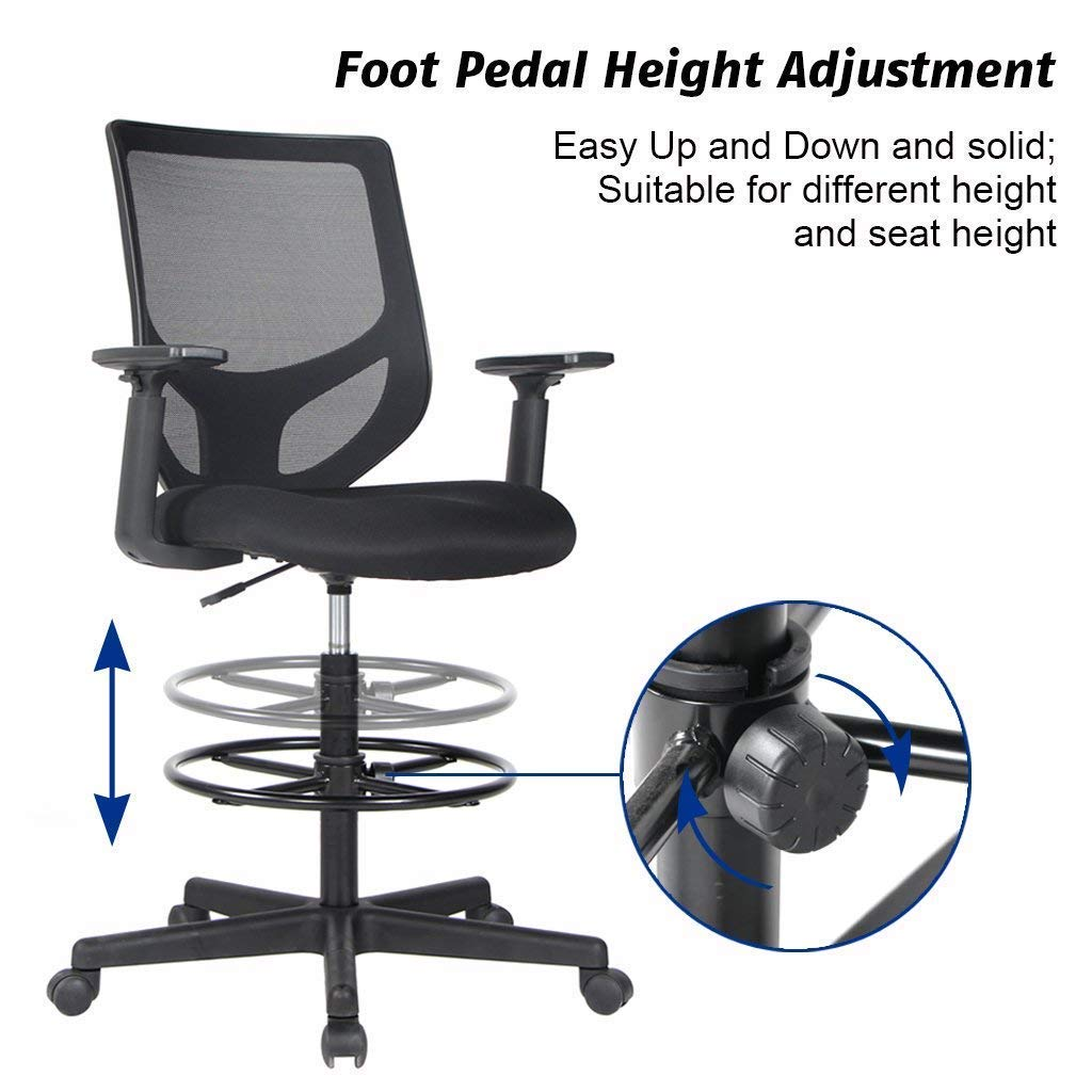 Smugdesk Mesh Drafting Chair with Adjustable Armrest and Foot Ring