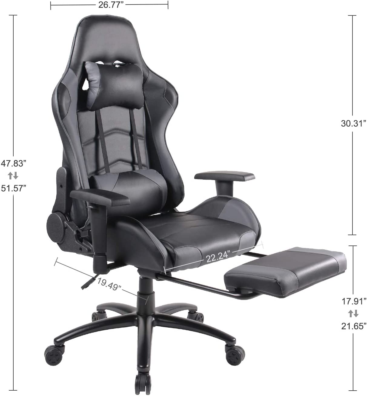 Smugdesk Gaming Racing Office High Back PU Leather Computer Desk Executive and Ergonomic Swivel Chair with Headrest