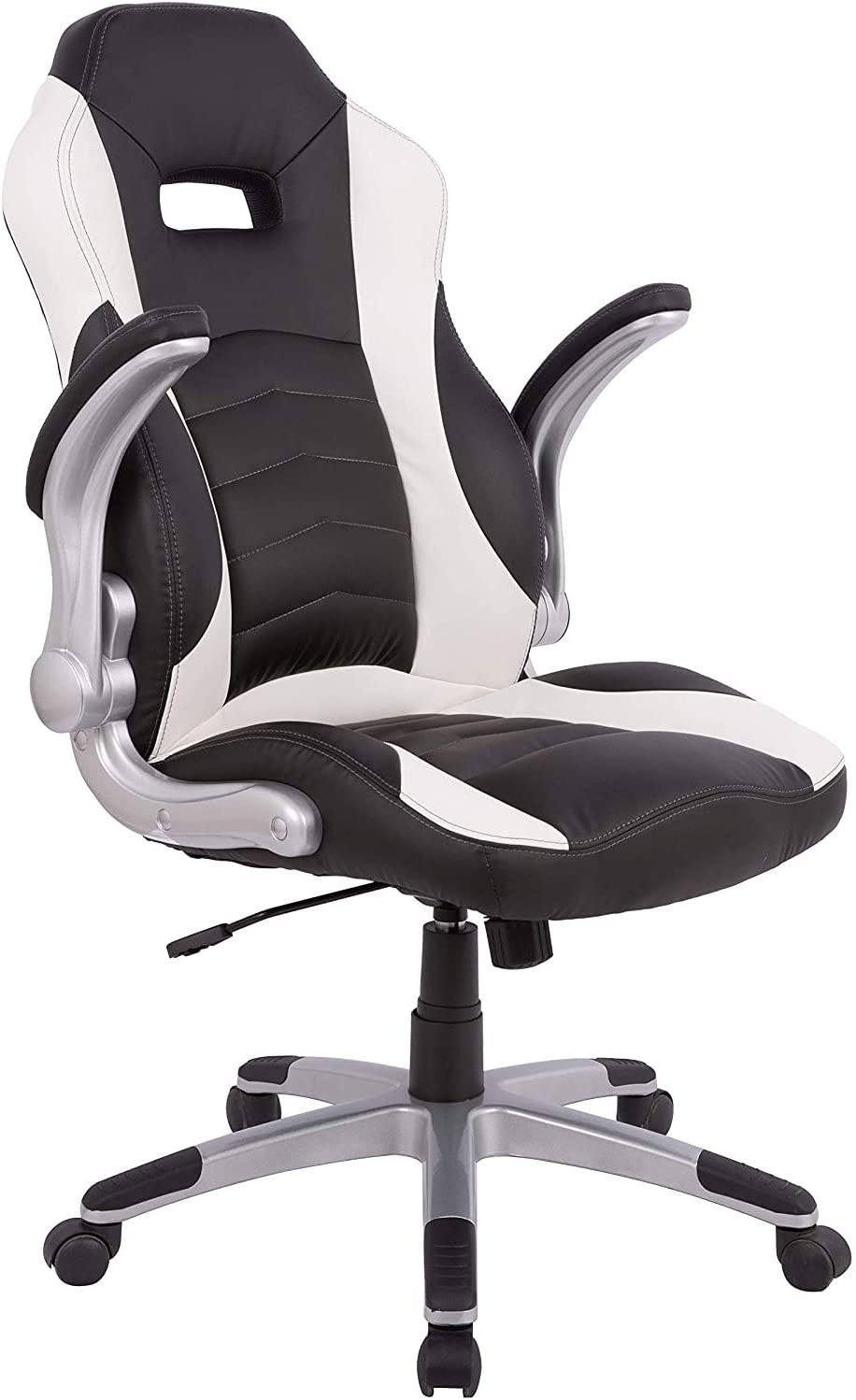 Gaming Chair Racing Style High-Back PU Leather Office Chair with  Adjustable Height Ergonomic and Sturdy Design (Black)