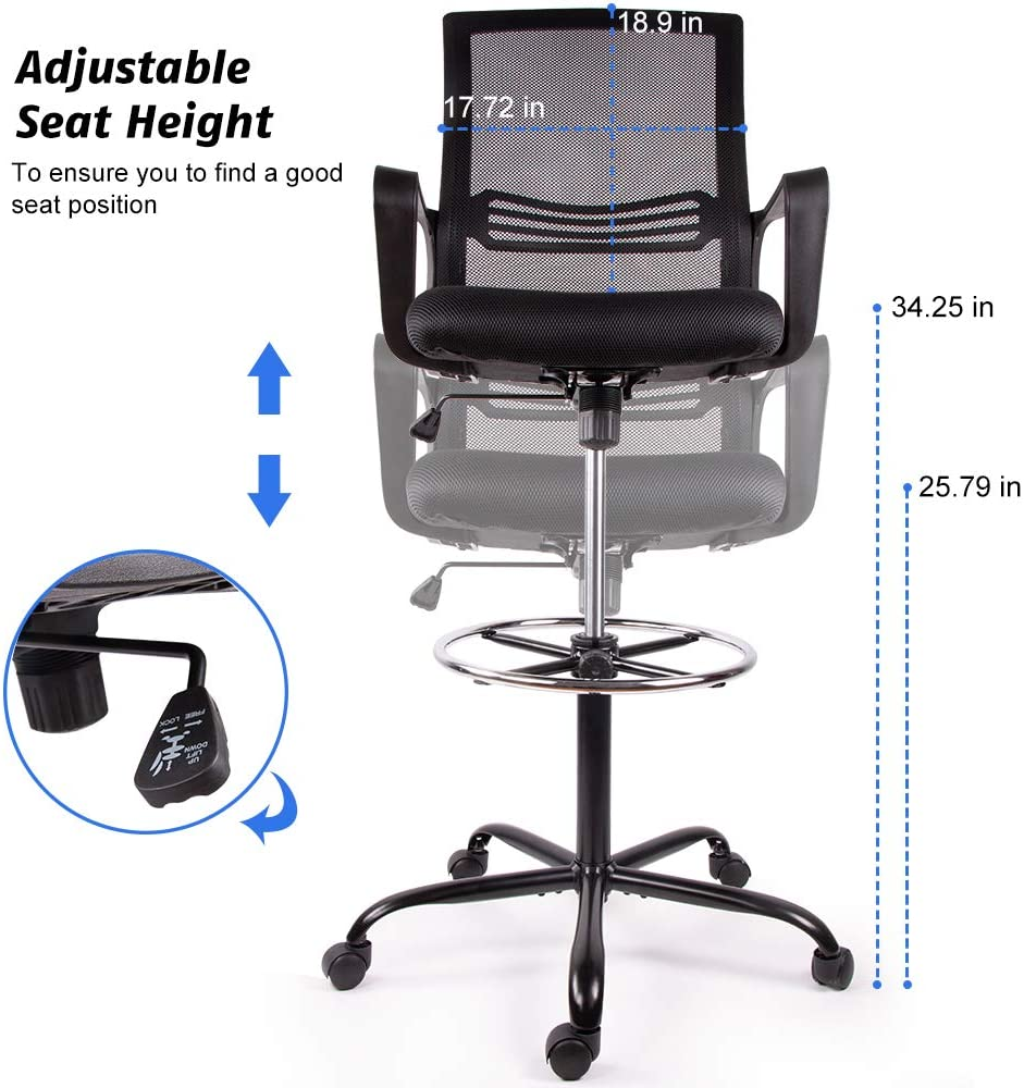 Smugdesk Mesh Drafting Chair Tall Office Chair for Standing Desk