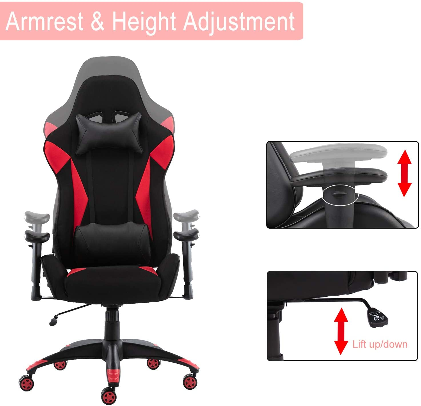Smugdesk Gaming Chair High Back Office Chair Racing Style Reclining Computer Desk Chair ,Red