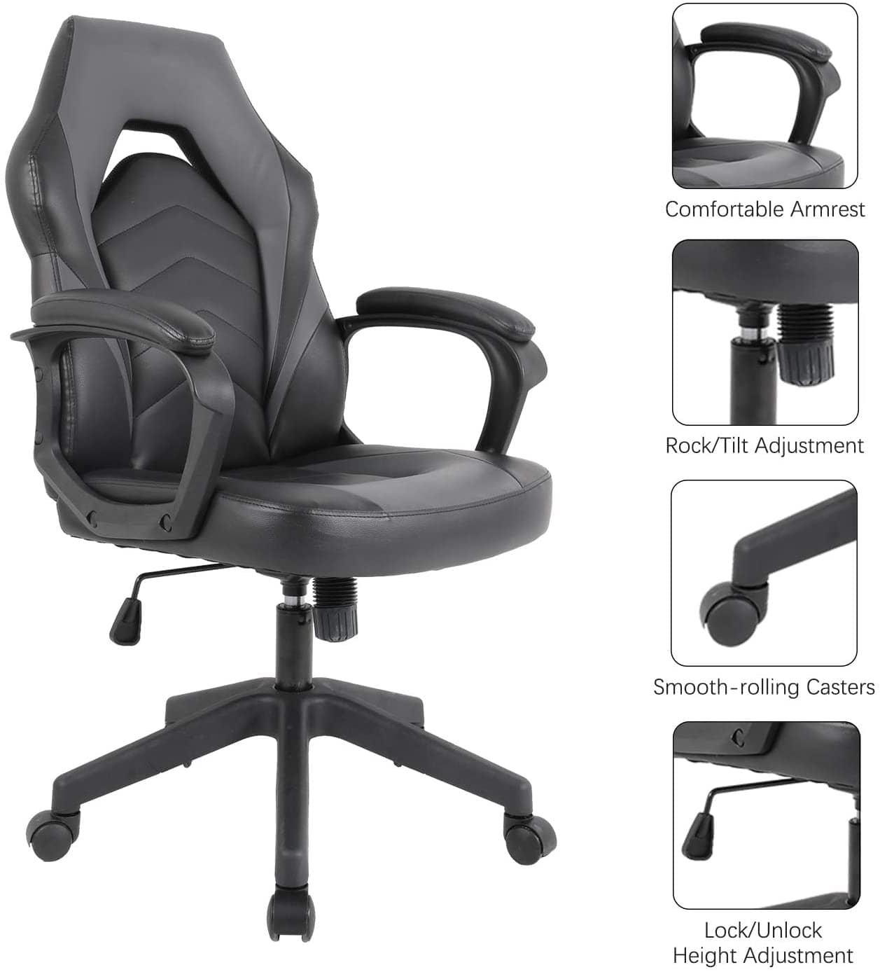 SMUGDESK Racing Gaming Chair Executive Bonded Leather Computer Office Chair with Massage and Padding Armrest  Grey