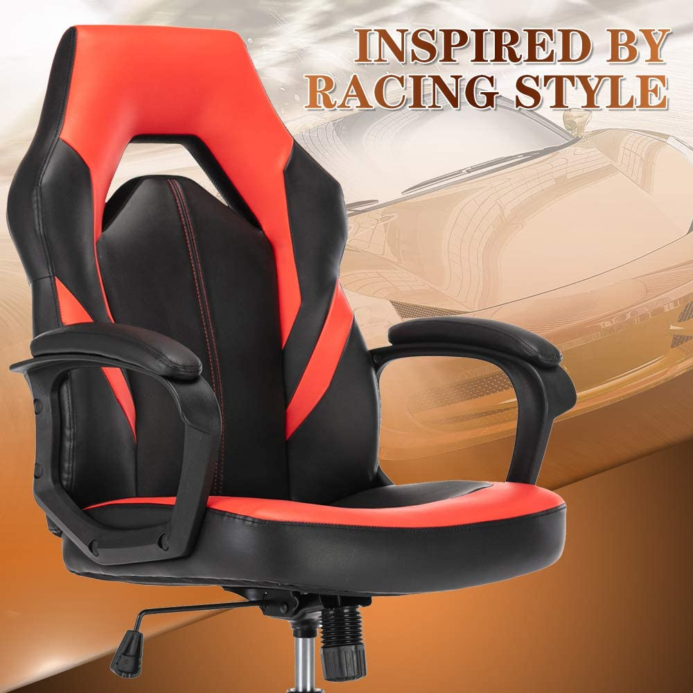 SMUGDESK Gaming Chair, Racing Style Ergonomic Executive Computer Office Chair Bonded Leather with Lumbar Support and Padding Armrest