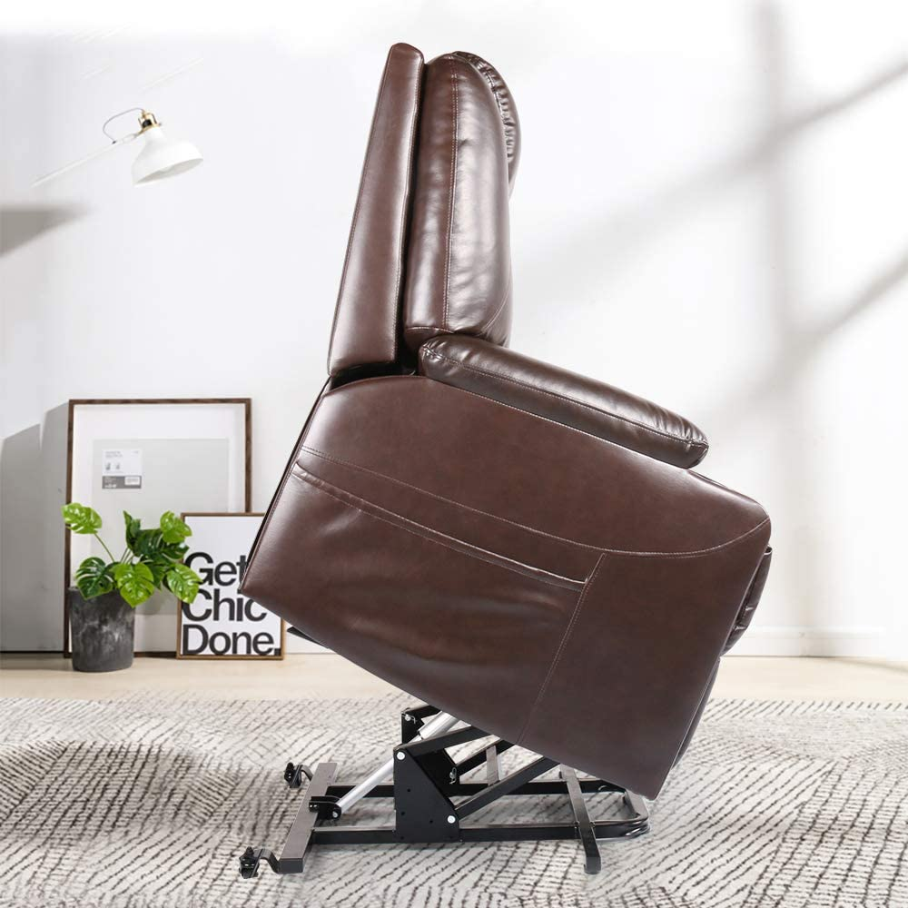 Smugdesk recliner chair, Ergonomic lounge chair with cup holders and side Pockets, PU leather brown