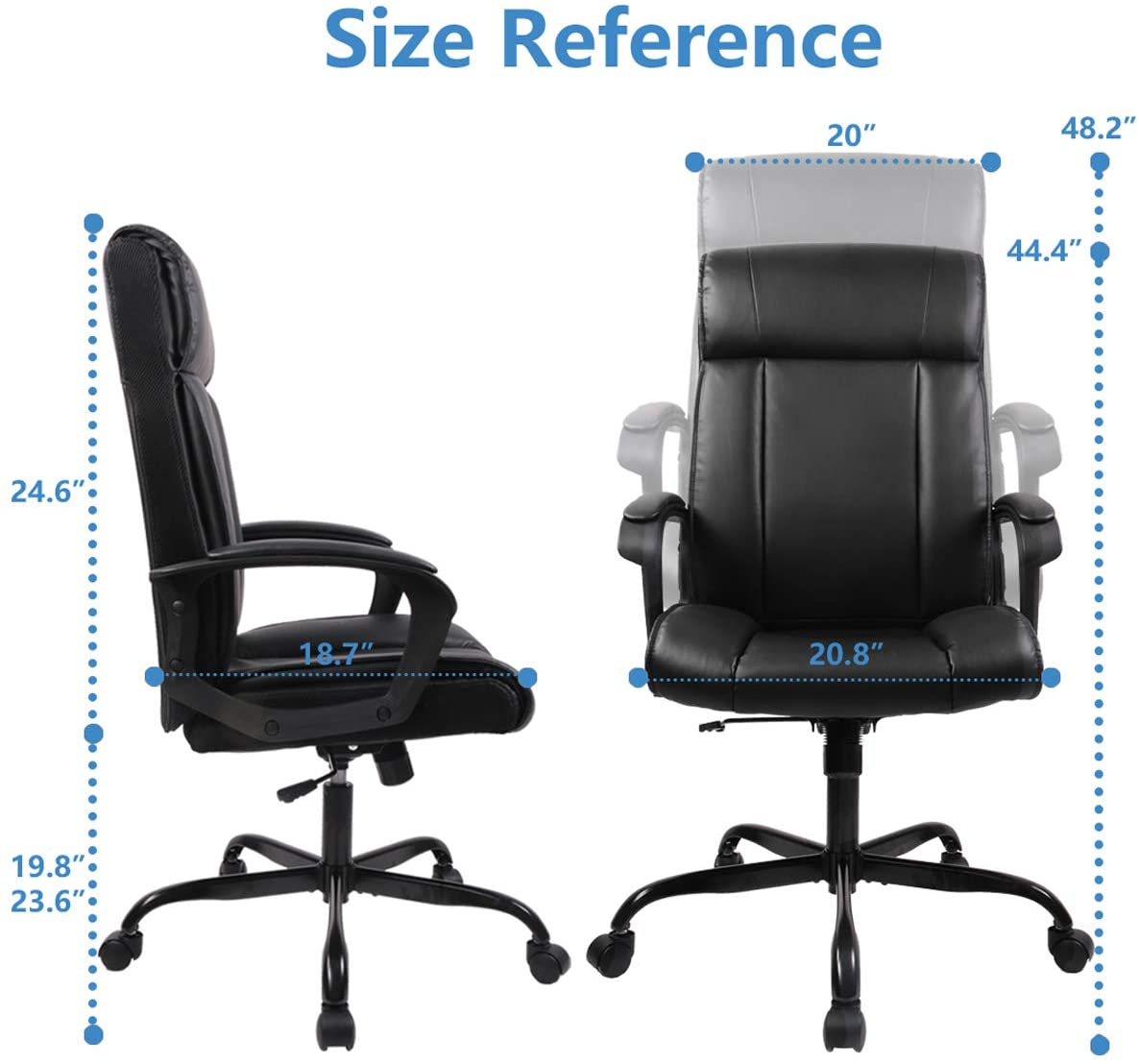 SMUGDESK PU Leather Ergonomic Chair Adjustable Task High-Back Executive Swivel Computer Chair Black
