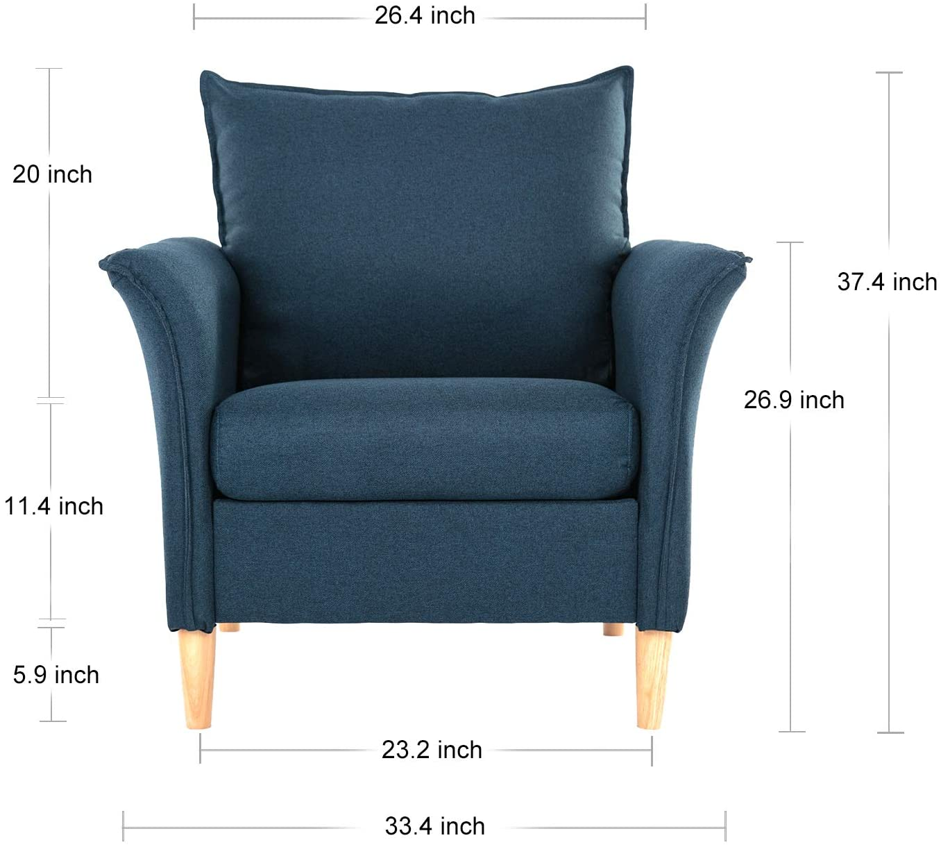 Smudesk Modern Fabric, Single Sofa Comfy Upholstered Arm Chair Living Room Furniture, Accent, Dark Blue
