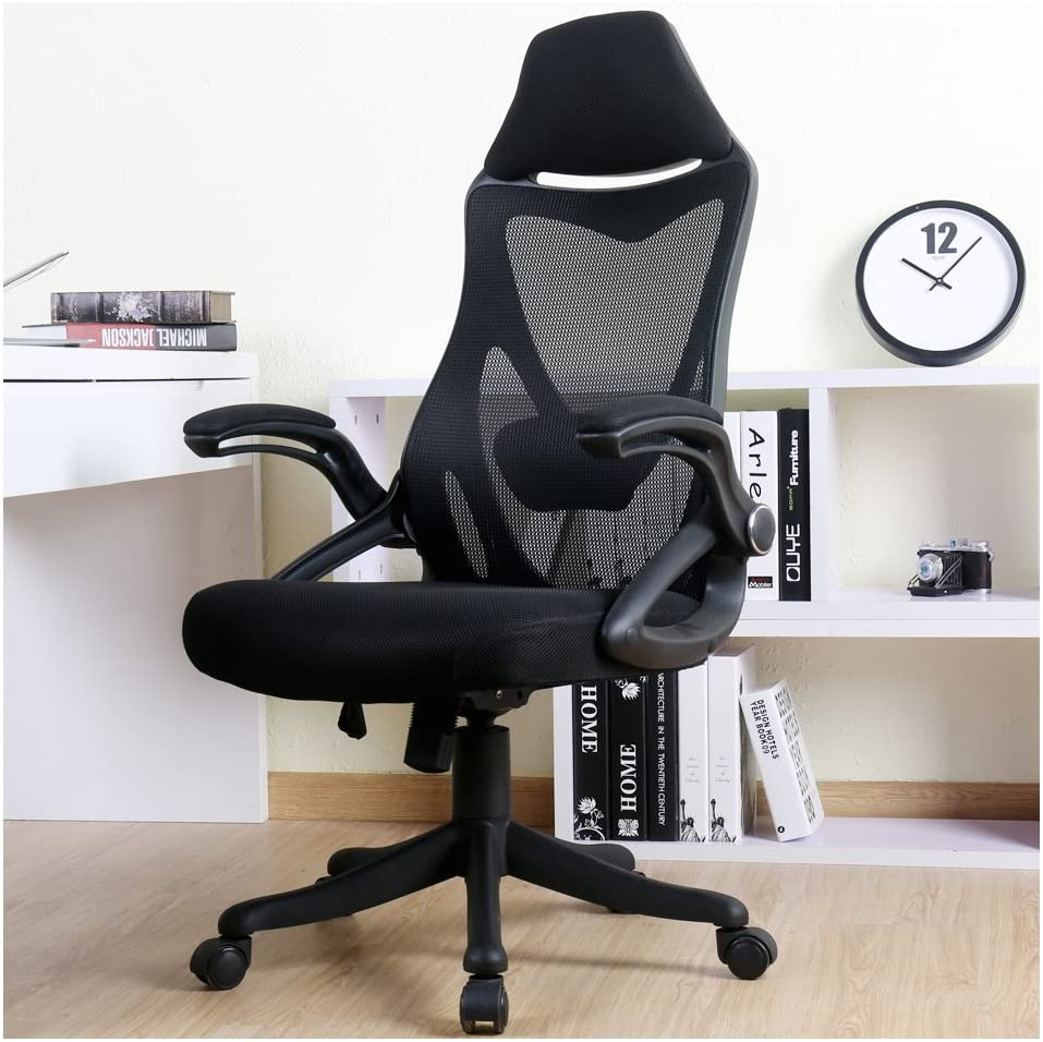 Ergonomic High Back with Adjustable Armrest Lumbar Support Headrest Swivel Task Desk Chair Computer Chair Guest Chairs,Black