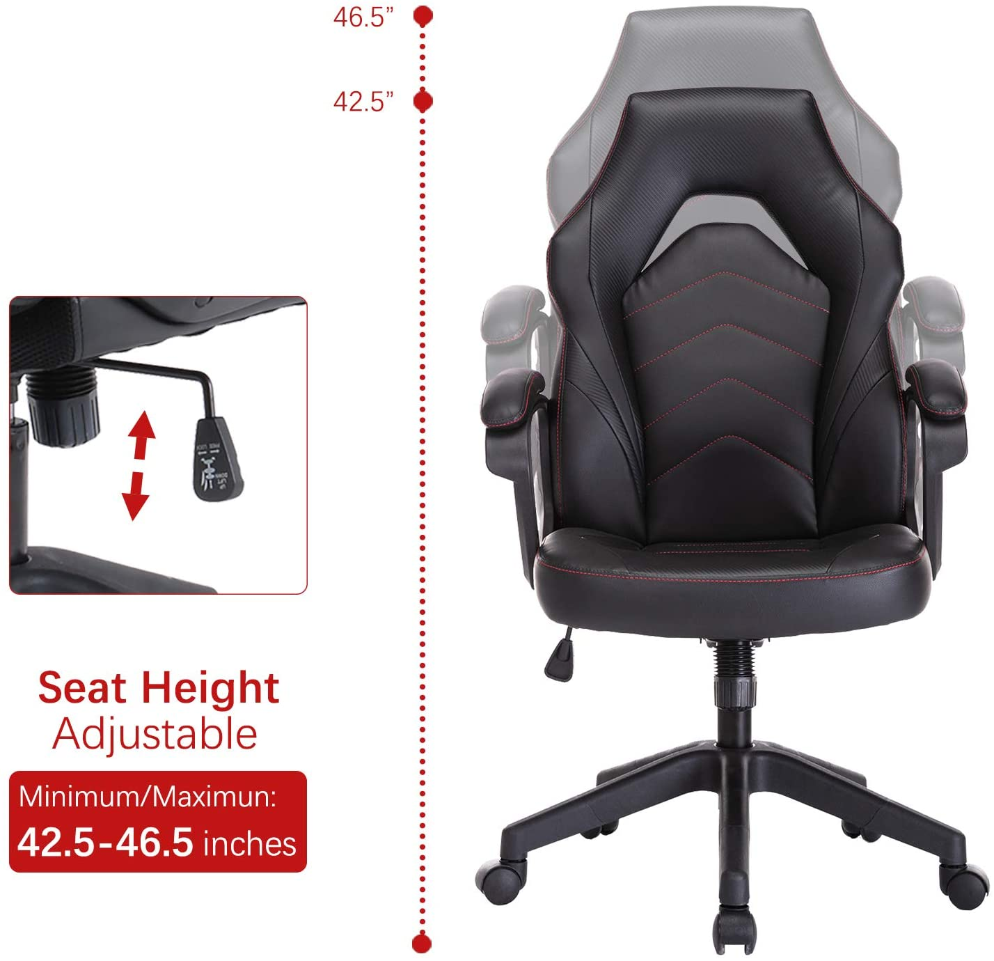 SMUGDESK Racing Gaming Chair Executive Bonded Leather Computer Office Chair with Massage and Padding Armrest