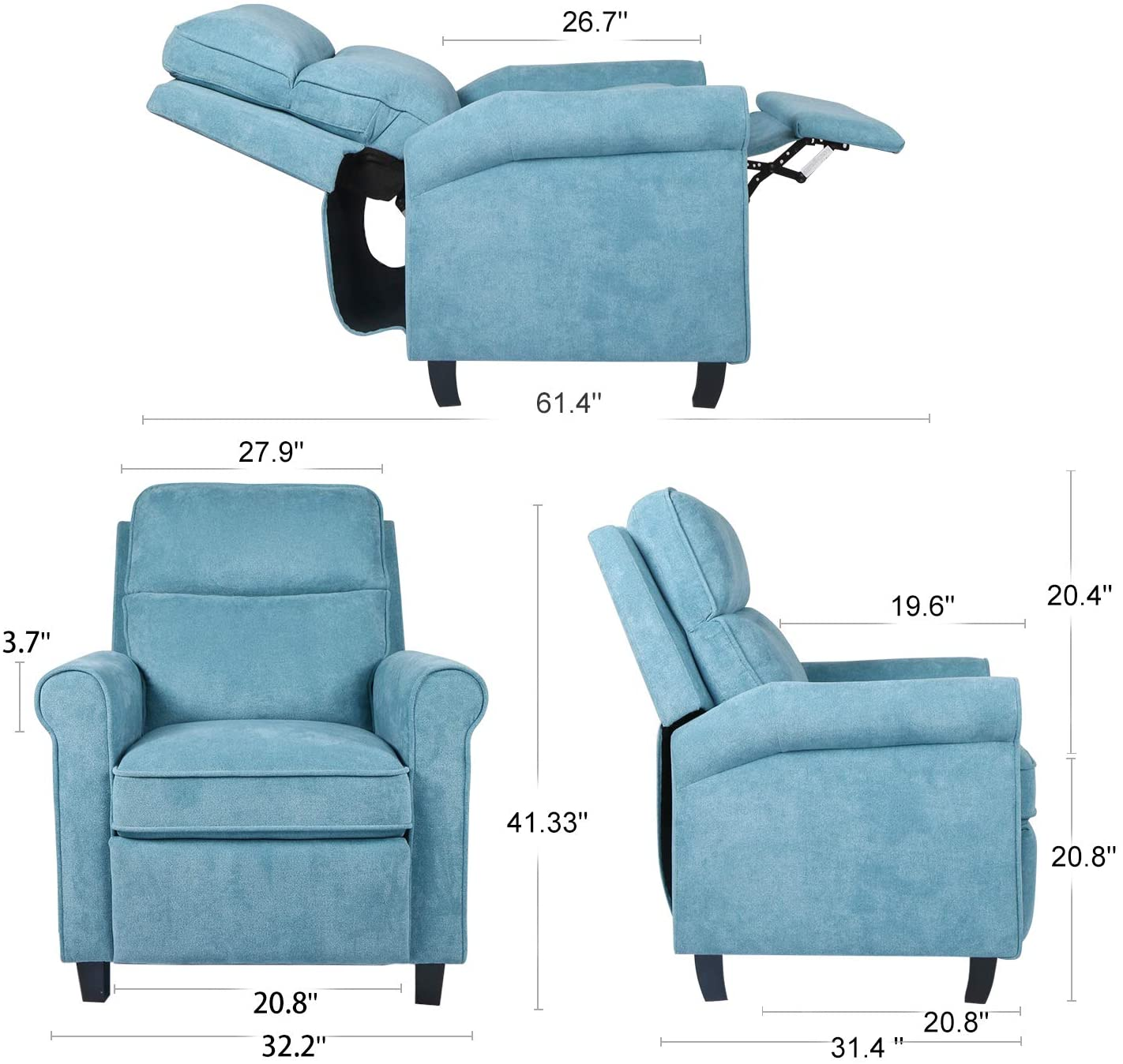 Smugdesk Fabric Recliner Chair Single Sofa Cushion Adjustable Home Theater Seating Living Room Lounge Blue
