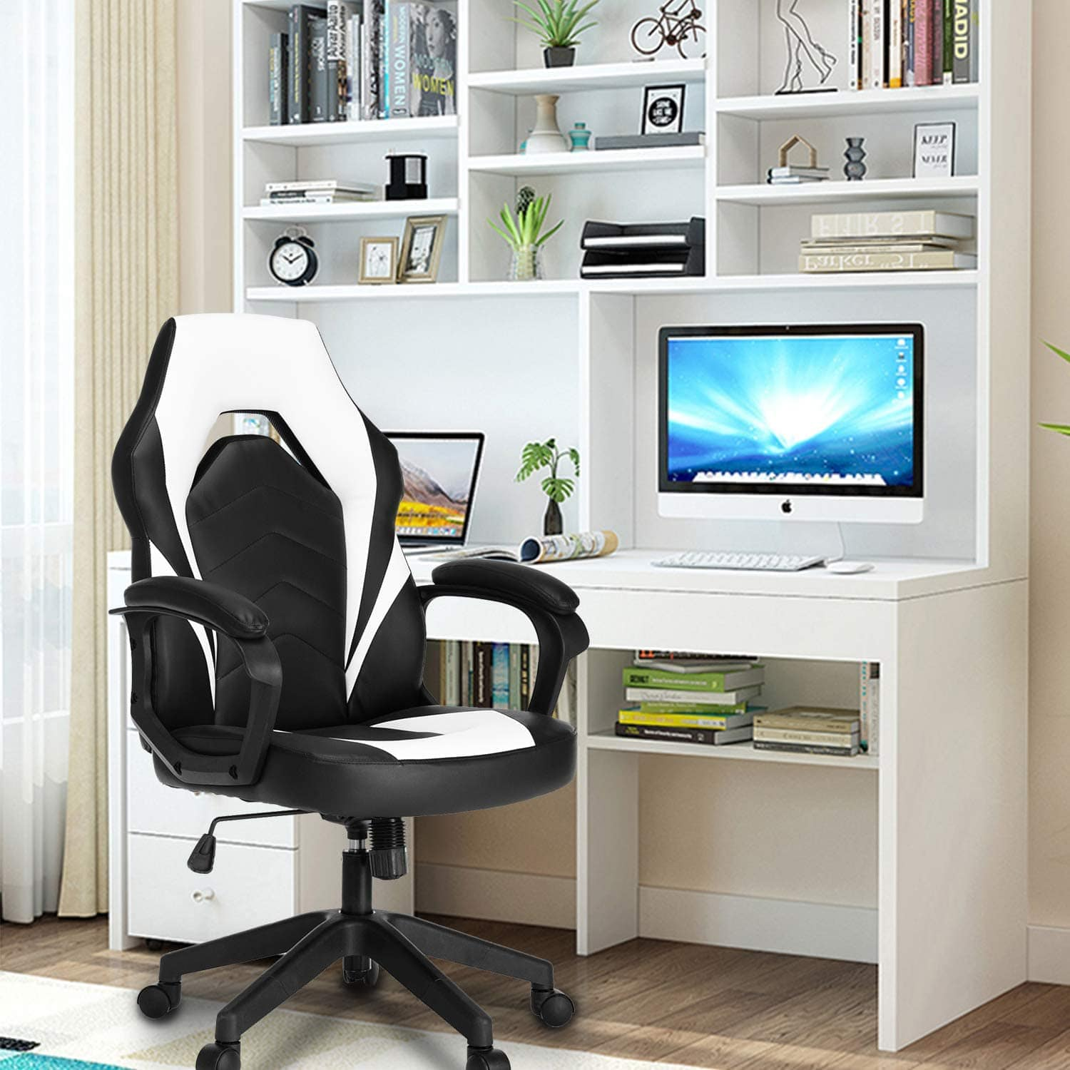 SMUGDESK Racing Gaming Chair Executive Bonded Leather Computer Office Chair with Massage and Padding Armrest White