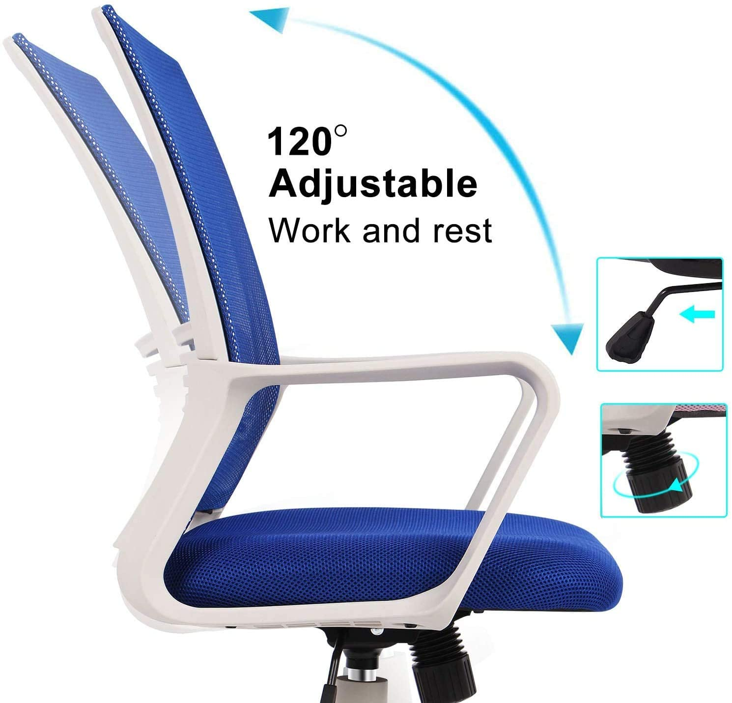 Smugdesk Office Chair, Mid Back Mesh Office Computer Swivel Desk Task Chair, Ergonomic Executive Chair with Armrests,blue