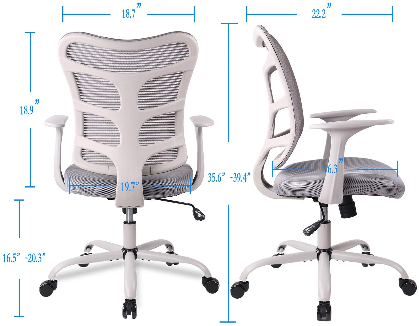 SmugChair Ergonomic Mid Back Mesh Office Chair Grey