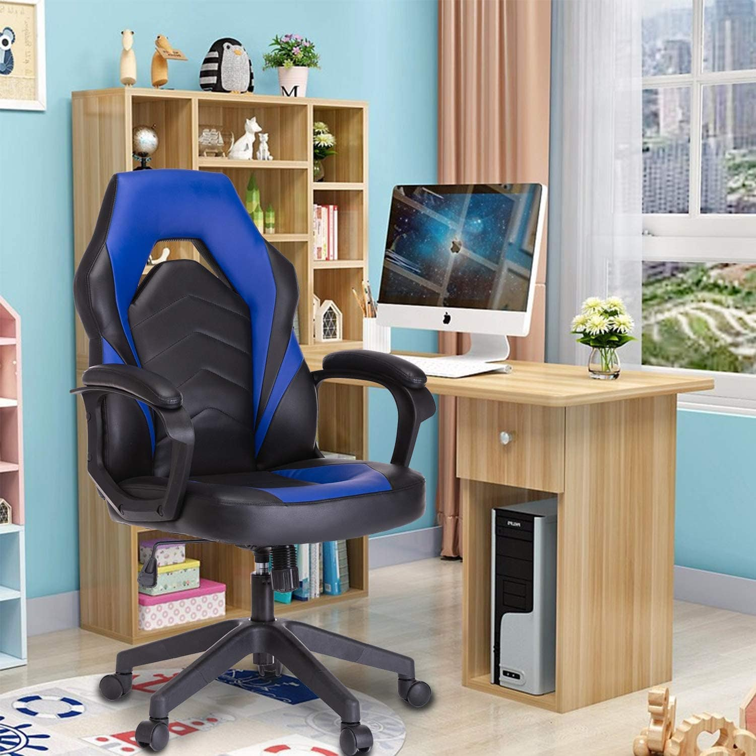 SMUGDESK Racing Gaming Chair Executive Bonded Leather Computer Office Chair with Padding Armrest Blue