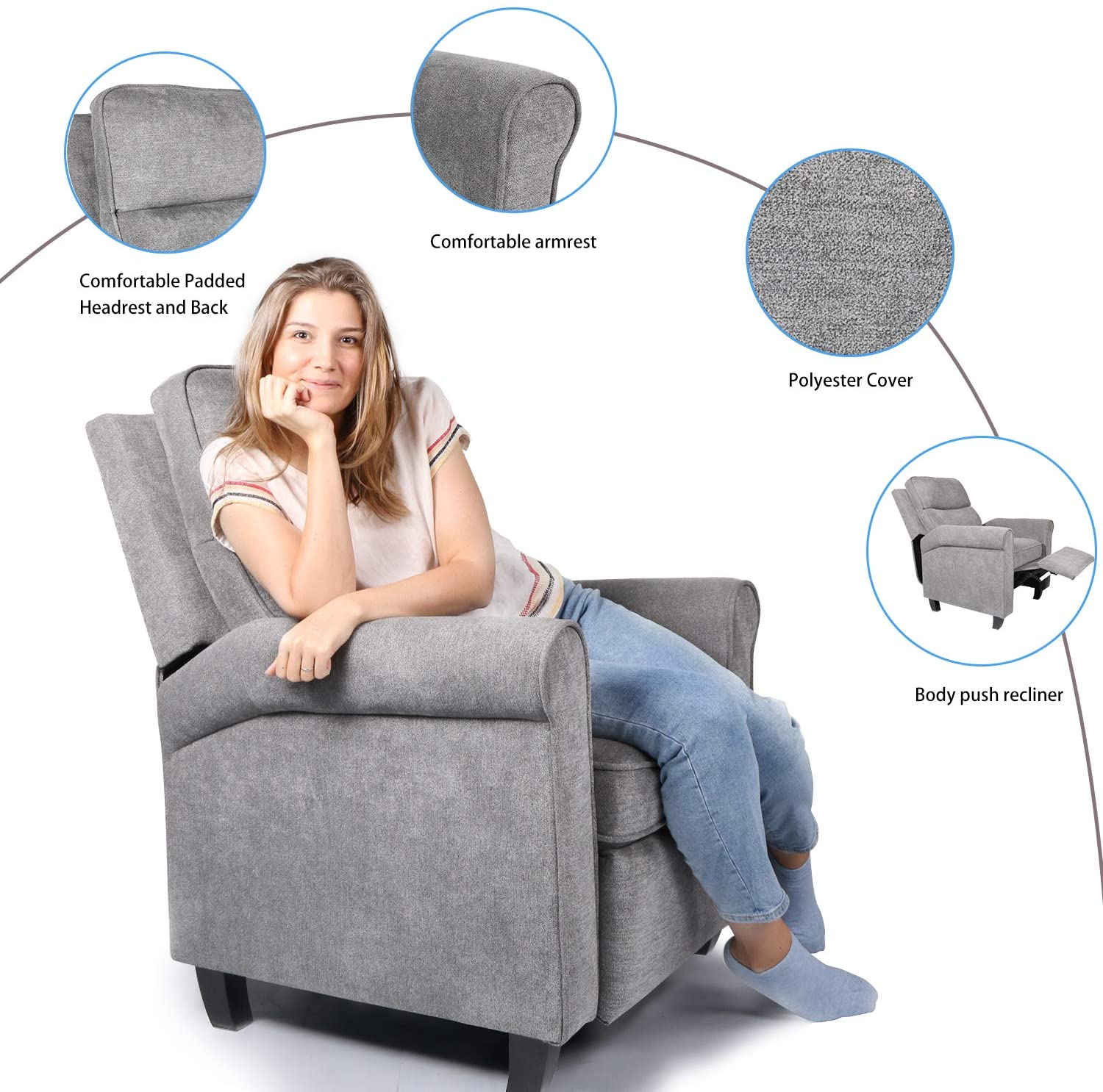 Smugdesk Fabric Recliner Chair Single Sofa Cushion Adjustable Home Theater Seating Living Room Lounge Grey