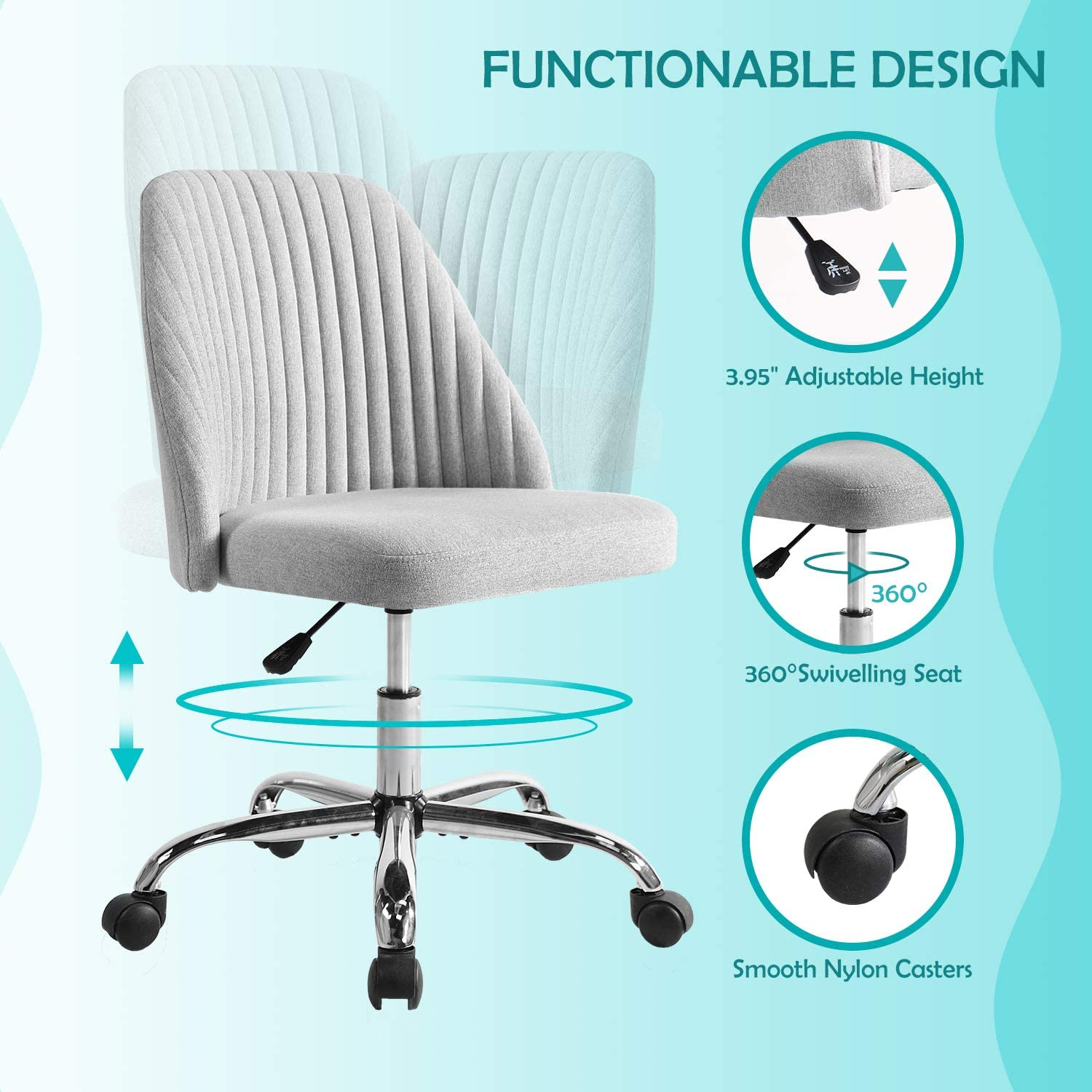 Smugdesk Ergonomic Adjustable Home Office Modern Twill Fabric Chair Gray