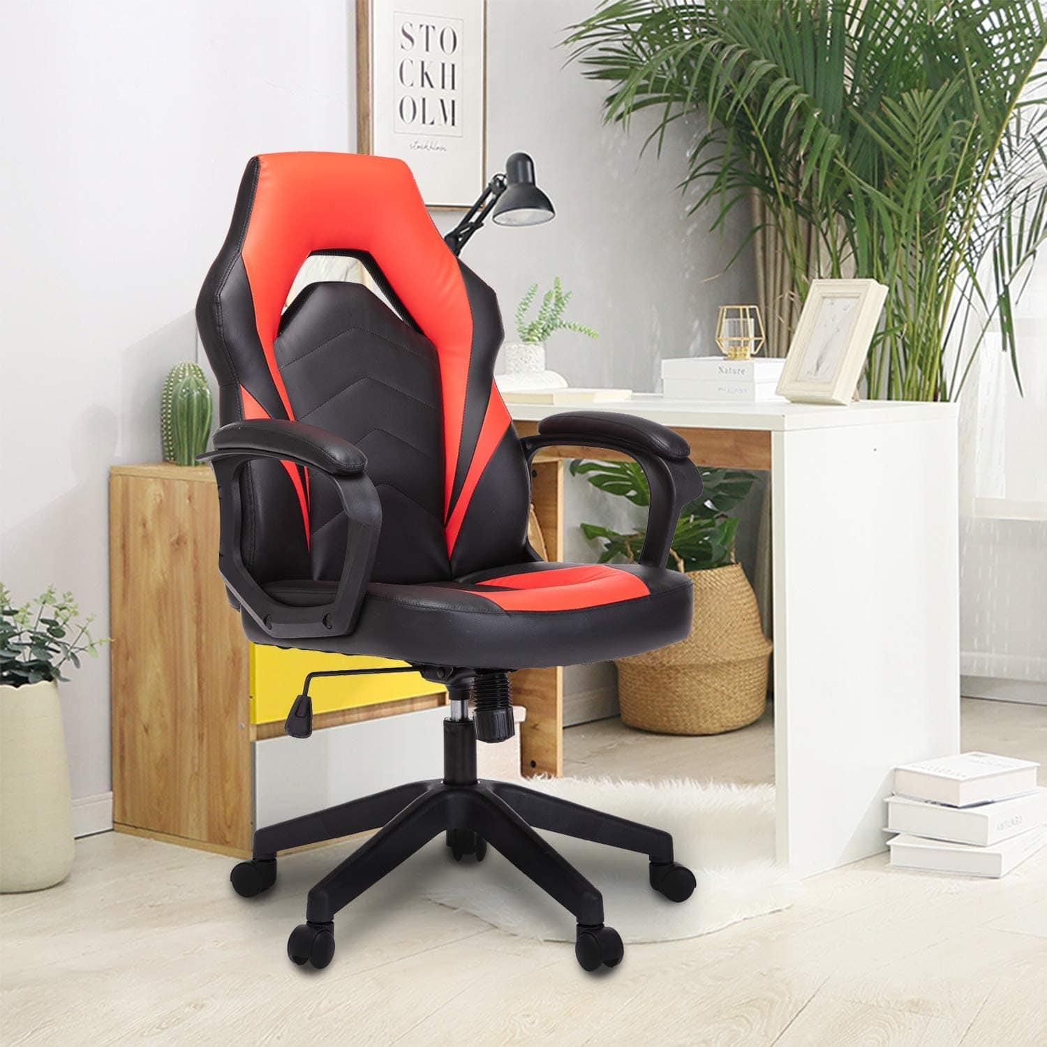 SMUGDESK Racing Gaming Chair Executive Bonded Leather Computer Office Chair with Massage and Padding Armrest Red