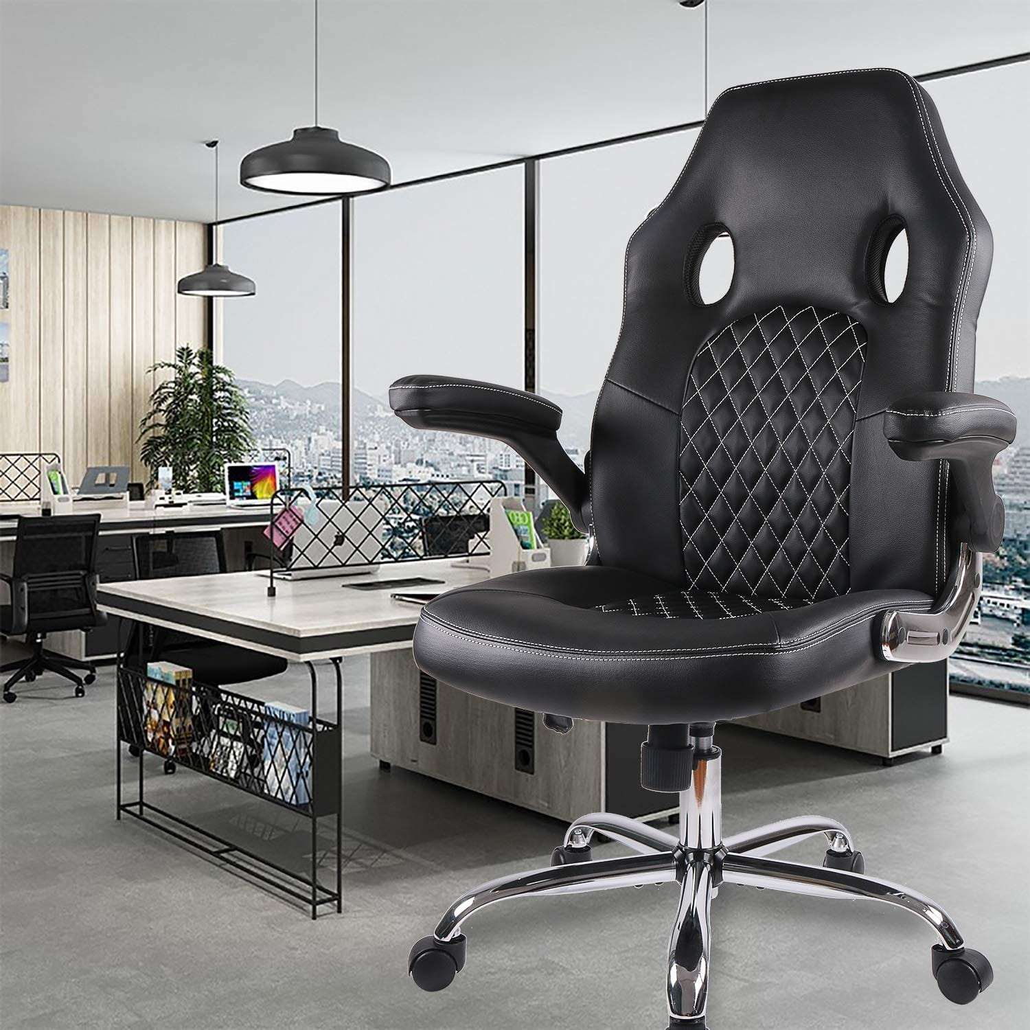 SmugDesk Office Chair Desk Leather Gaming Chair, High Back Ergonomic Adjustable Racing Chair,Task Swivel Executive Computer Chair (Black)