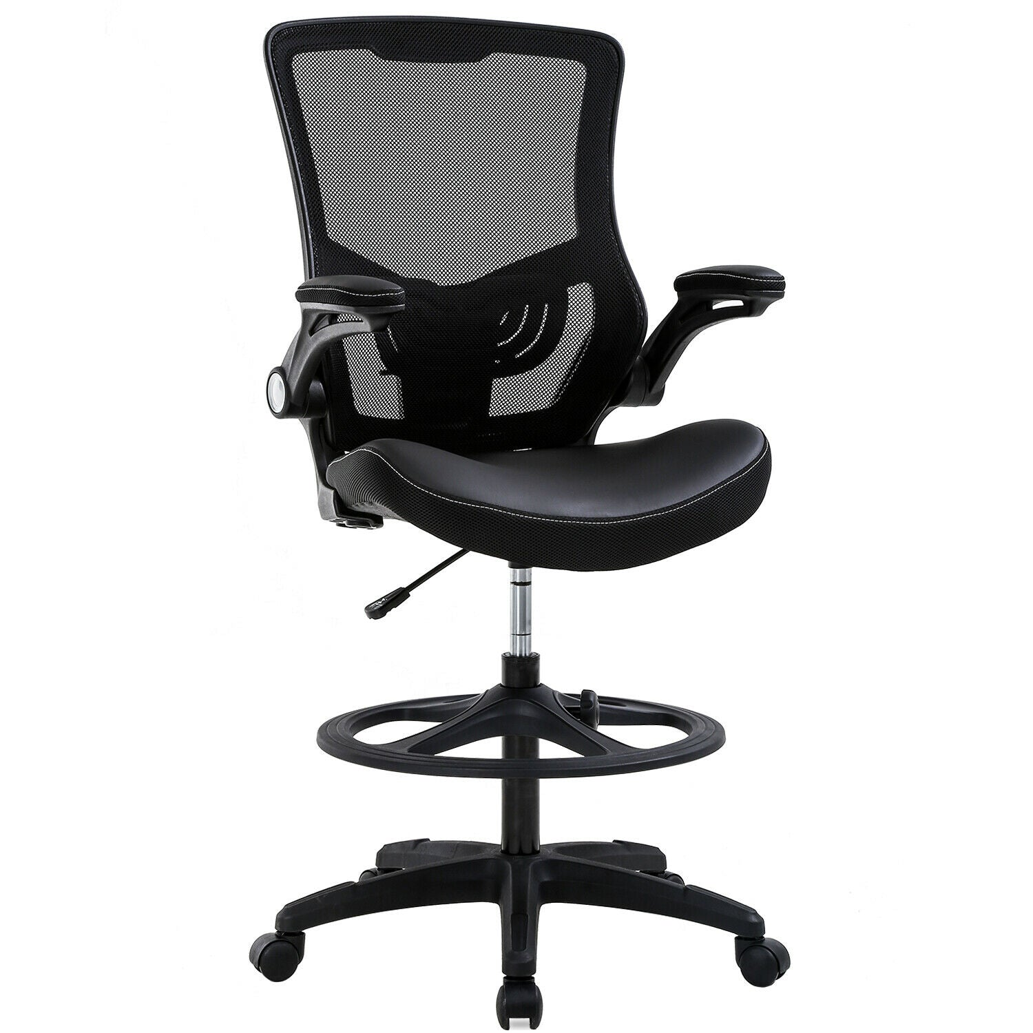 Drafting Chair Ergonomic Tall Office Chair with Flip Up Arms Foot Rest Back Support Adjustable Height , Black