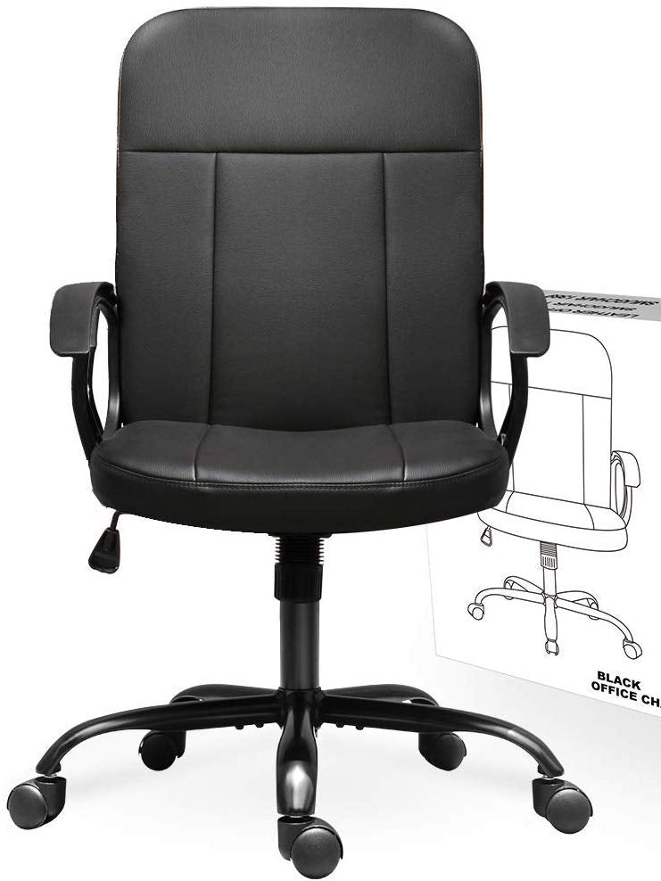Ergonomic Executive Chair with Armrests Office Chair, Mid Back Leather Desk Chair, Computer Swivel Office Task Chair