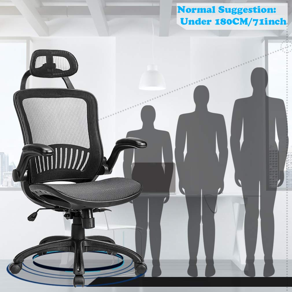 Smugdesk Mesh Executive Chair High Back With Adjustable Headrest And Padded Flip-Up Arms