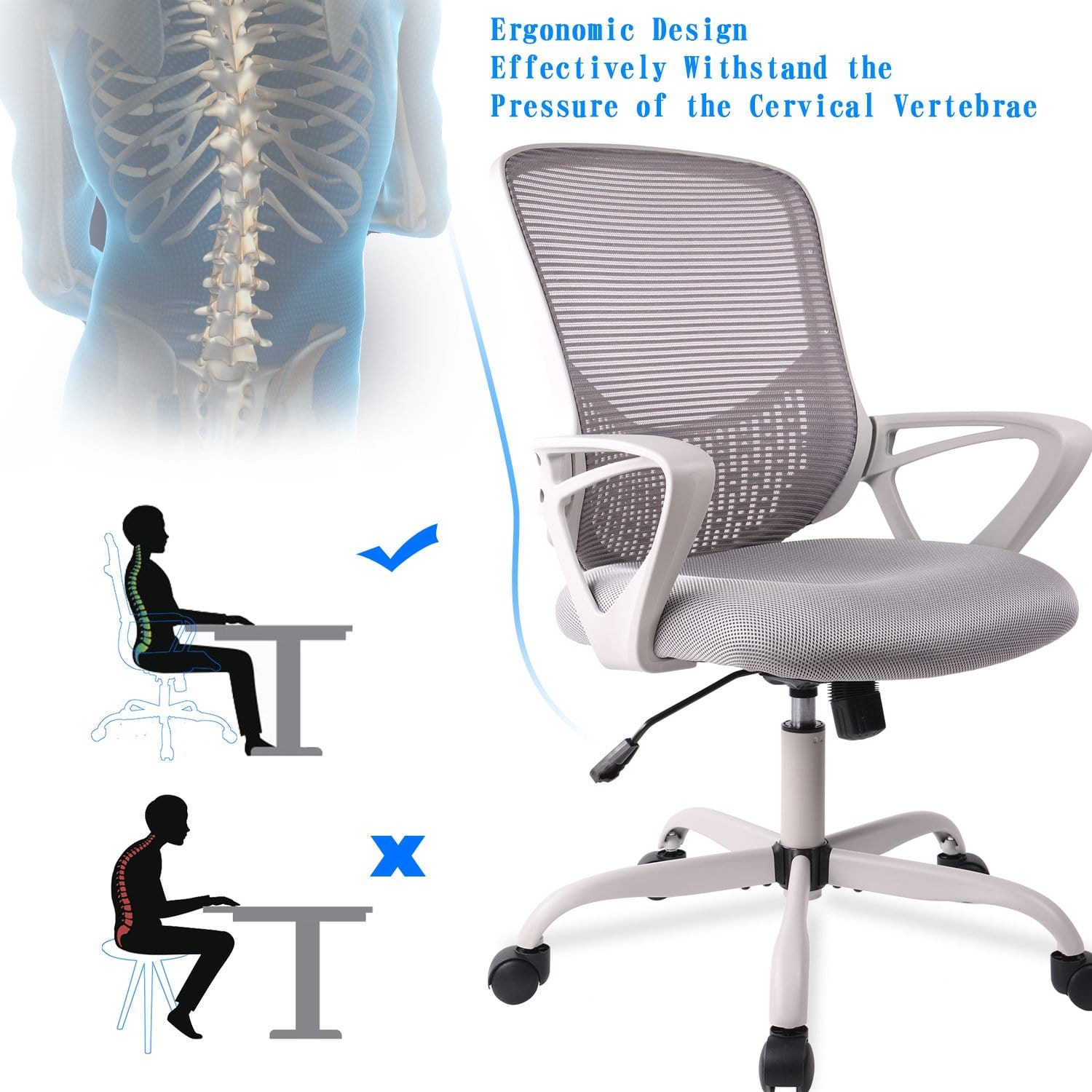 Smugdesk Mid-Back Mesh Ergonomic Chair Gray