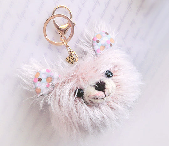 Mohair Bear-Head-Bag Charm & Wool Felting