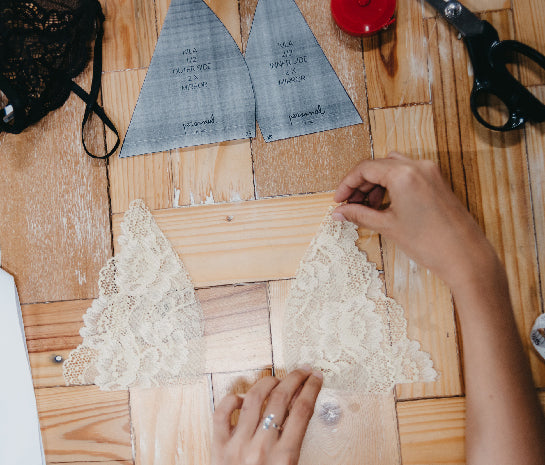 Cutting lace bra according to own measurements