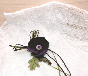 3 IN 1 Suede Pansy Bracelet, Necklace or Brooch