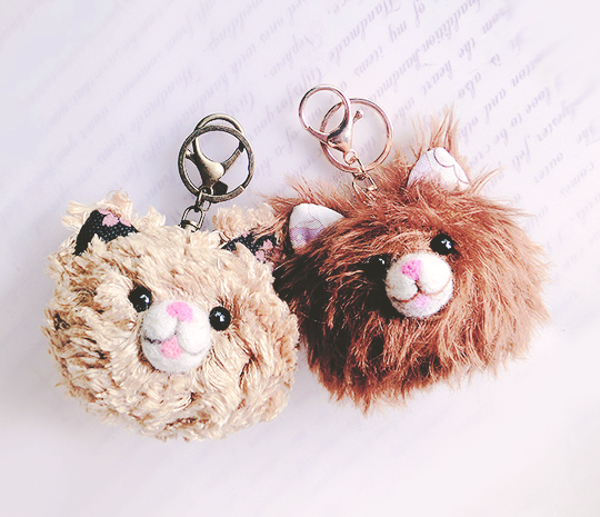 Cat Bag Charm & Wool Felting with attachment of the keys-ring