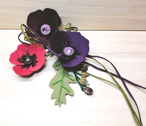 suede pansy necklace