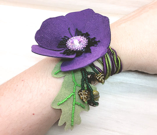 suede pansy bracelet