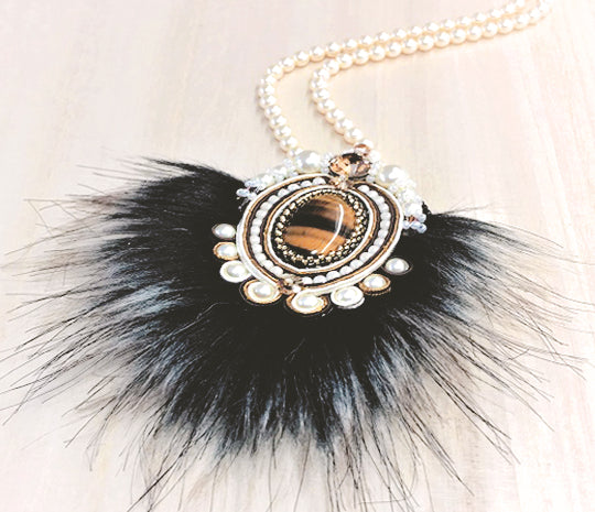 soutache fur pendant