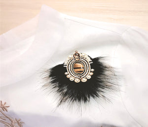2 IN 1 Soutache-Fur Pendant or Brooch