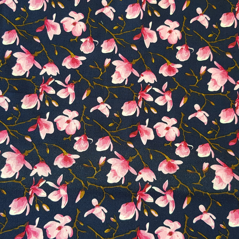 Fabric with Sakura (on Navy Blue) design