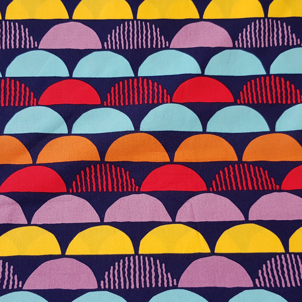 Fabric with Semicircles (on Navy Blue) design