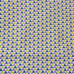 Fabric with Yellow and Purple Triangles design