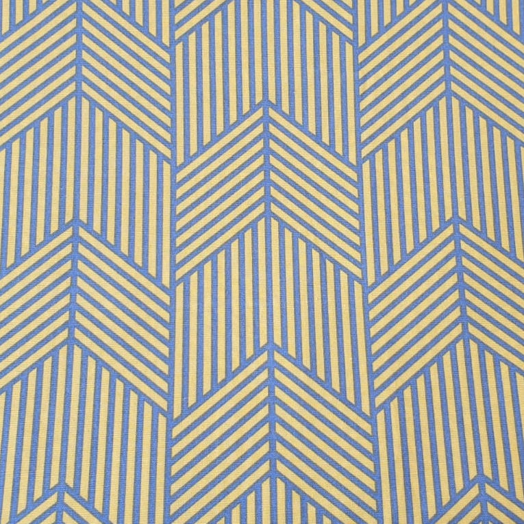 Fabric with Yellow and Blue Lines design