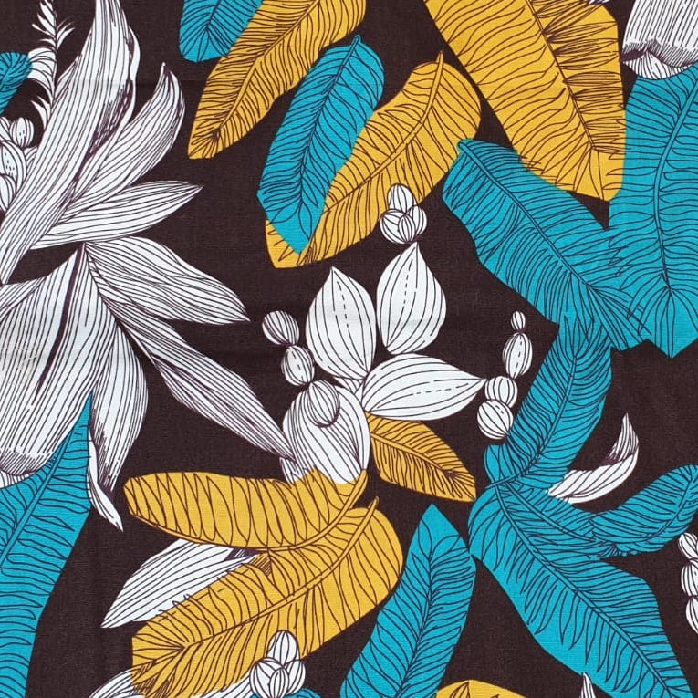 Fabric with Yellow and Blue Palm Leaves (on Brown) design
