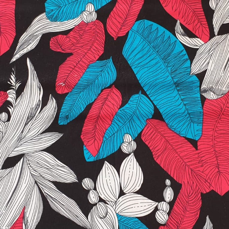 Fabric with Red and Blue Palm Leaves design
