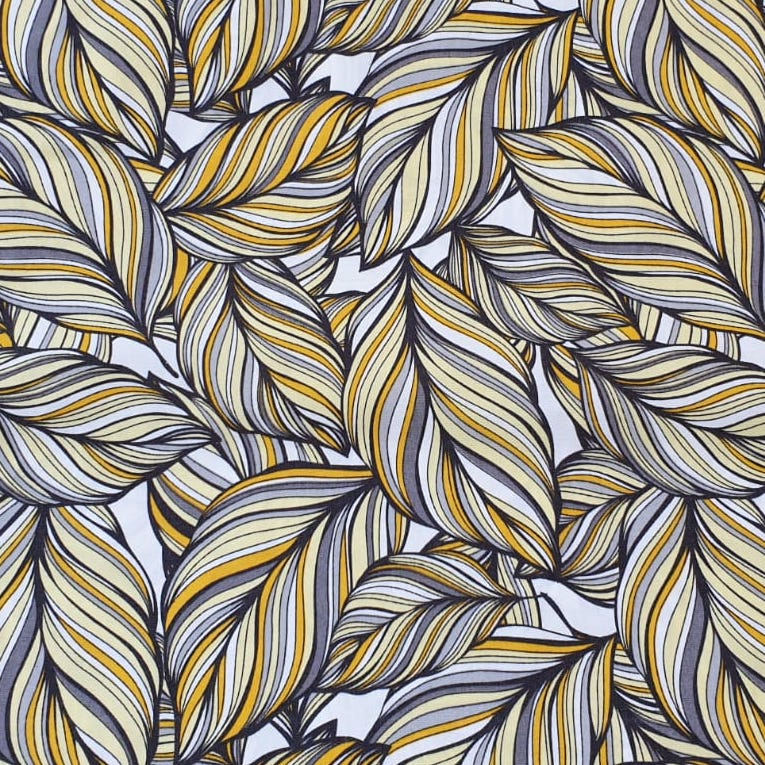 Fabric with Yellow and Grey Leaves design