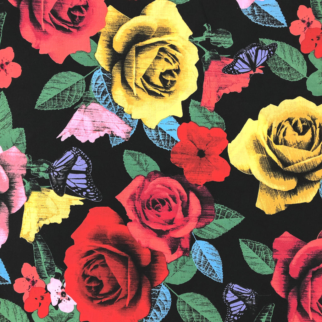OCP-CN-006 | Colourful Roses on Black Fabric