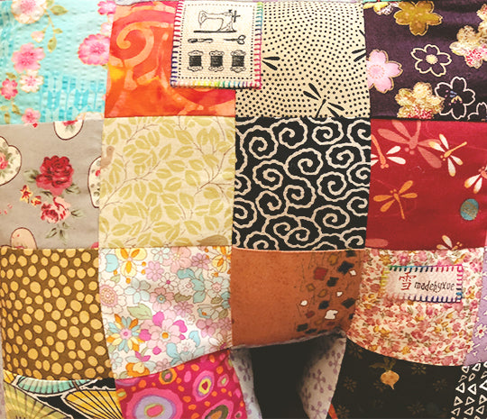 Fabric patchwork with hand-sew invisible stitches