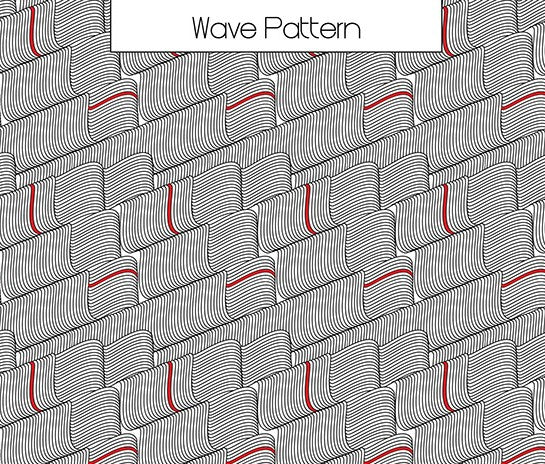Textile Design featuring digital artwork and creating repeated pattern tiles (Wave Pattern)