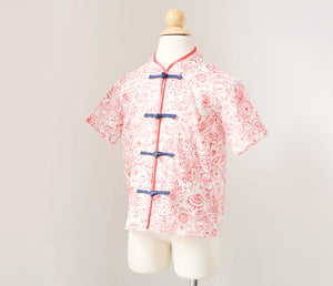 Boy's tang shirt with button placket