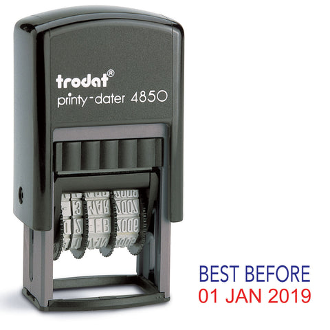 Trodat 4850 Stock Date Stamp - BEST BEFORE in Blue and Red Ink