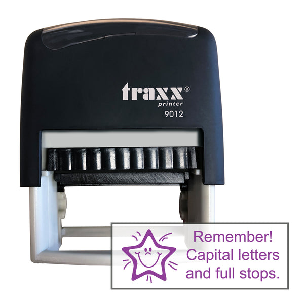 Traxx 9012 48 x 18mm Assessment Stamp - Remember Capital letters & full stops