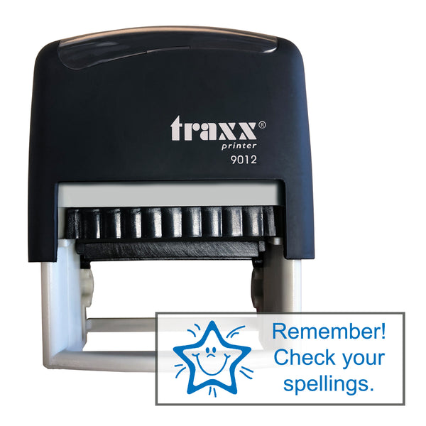 Traxx 9012 48 x 18mm Assessment Stamp - Check your spellings