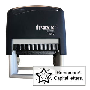 Traxx 9012 48 x 18mm Assessment Stamp - Remember Capital letters