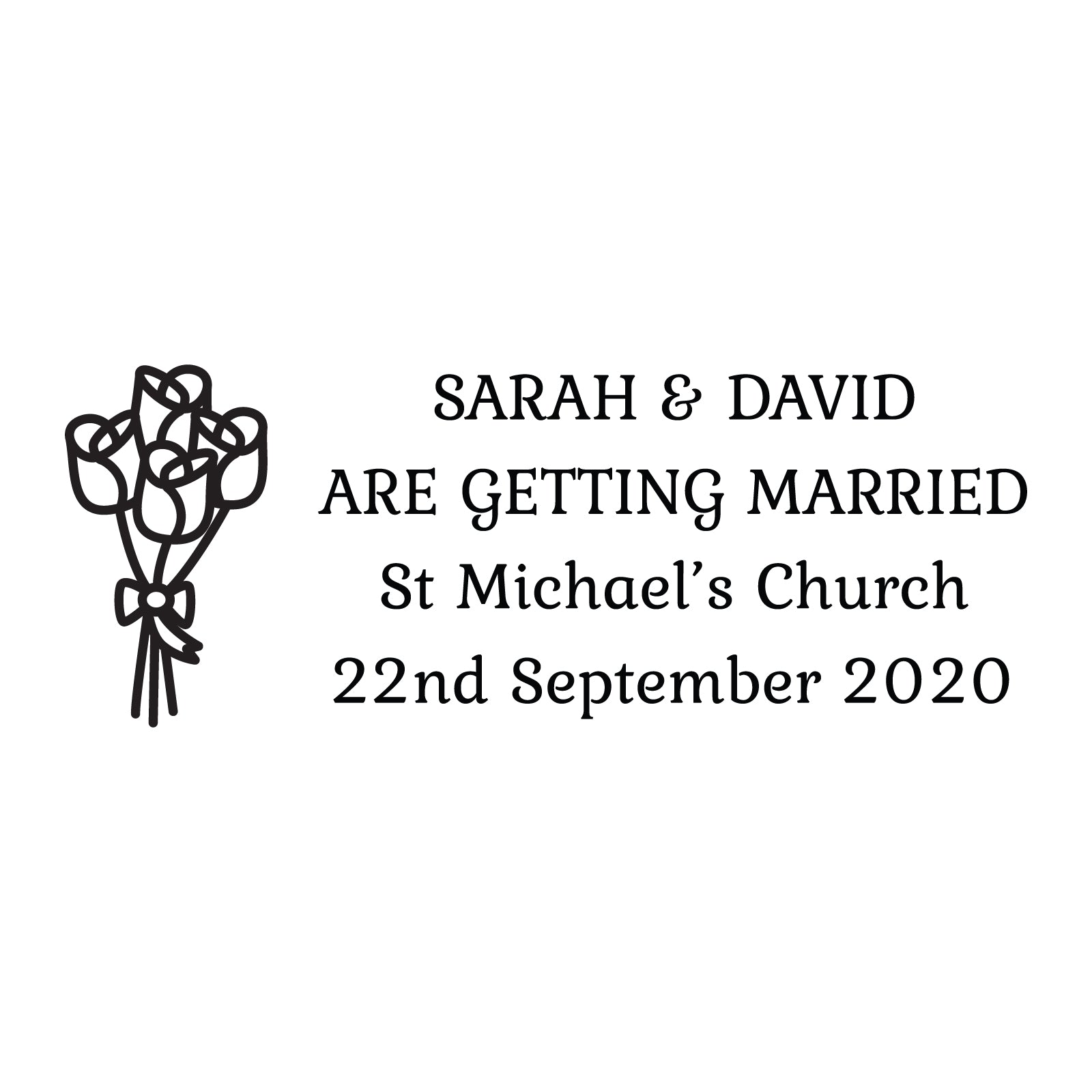 Medium Personalised Stamp - Wedding 2
